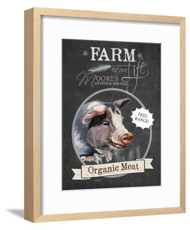 Redstreake Chalkboard Pig-Jennifer Redstreake-Framed Art Print