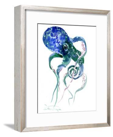 Octopus Blue Green-Suren Nersisyan-Framed Art Print