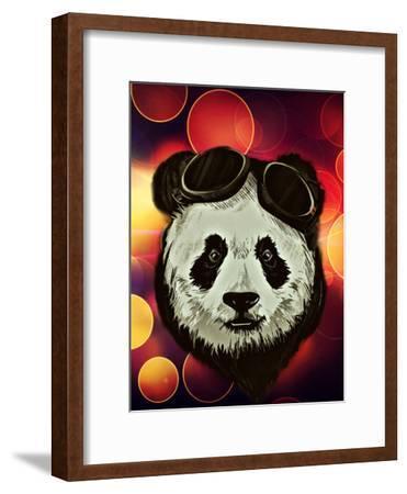 Hipster Panda with Bokeh Style-Wonderful Dream-Framed Art Print