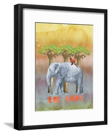 Elephant And Birds-Grab My Art-Framed Art Print