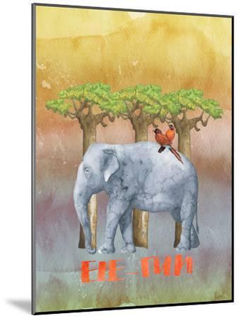 Elephant And Birds-Grab My Art-Mounted Art Print
