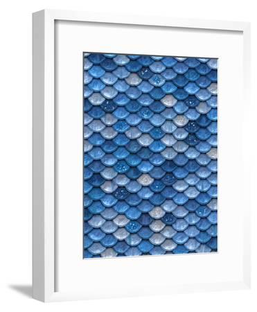 Blue Mermaid Glitter Scales-Grab My Art-Framed Art Print