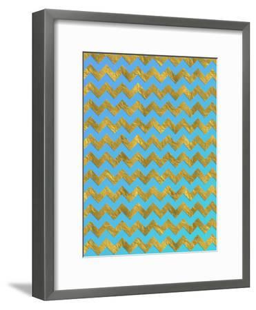 Blue Gold Glitter Pattern Chevron-Grab My Art-Framed Art Print