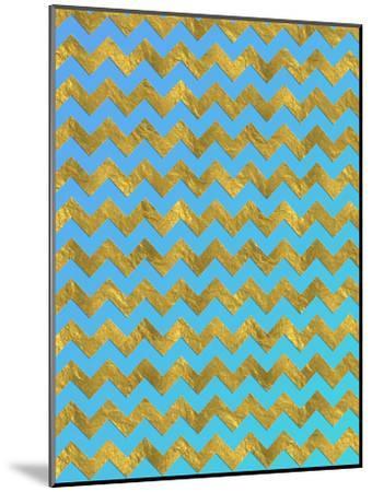 Blue Gold Glitter Pattern Chevron-Grab My Art-Mounted Art Print