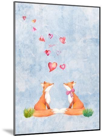 Love Fox Animal 3-Grab My Art-Mounted Art Print