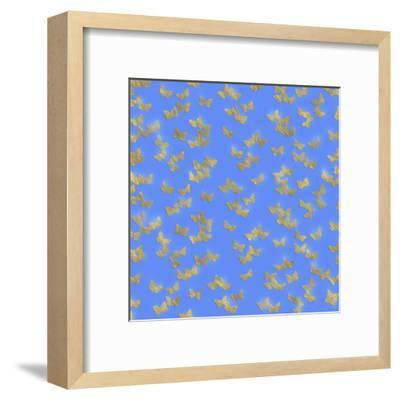 Blue Gold Glitter Pattern Butterflies - Square-Grab My Art-Framed Art Print