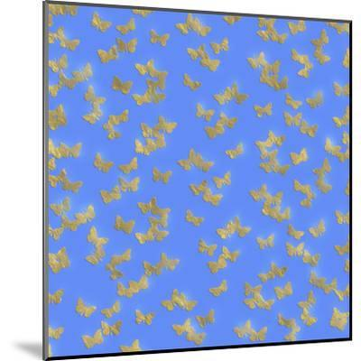 Blue Gold Glitter Pattern Butterflies - Square-Grab My Art-Mounted Art Print