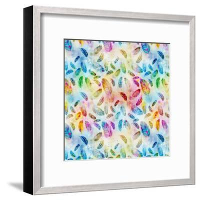 Feather Pattern Colorful - Square-Lebens Art-Framed Art Print