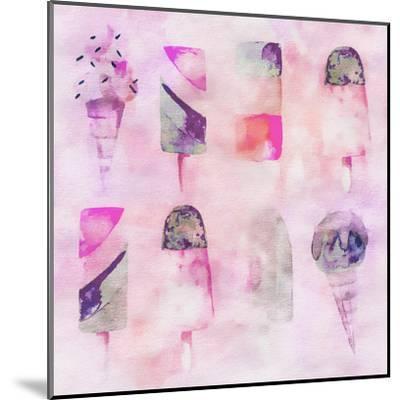 Popsicle Icecream Watercolor - Square 2-Lebens Art-Mounted Art Print