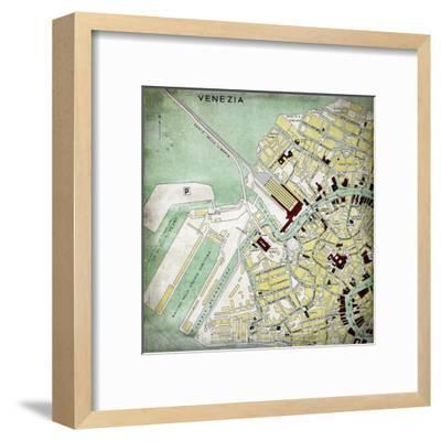 Venezia Map - Square-Lebens Art-Framed Giclee Print