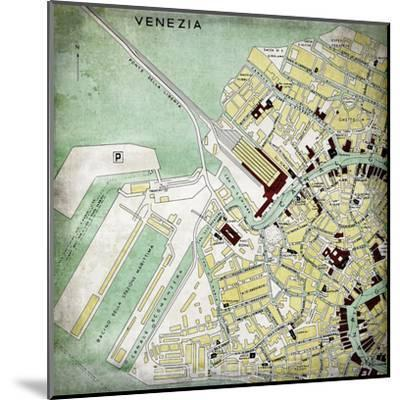Venezia Map - Square-Lebens Art-Mounted Giclee Print
