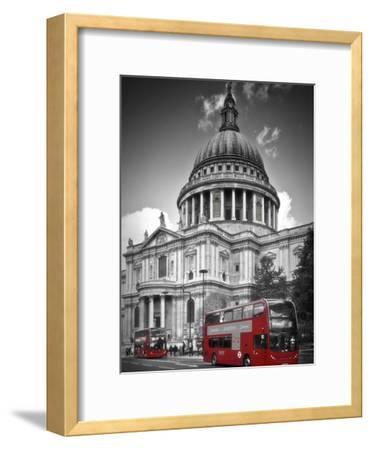 London St Pauls Cathedral & Red Bus-Melanie Viola-Framed Art Print