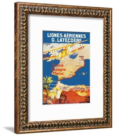France - Spain - Morocco - Lignes Aeriennes (Aéropostale)-Pacifica Island Art-Framed Art Print