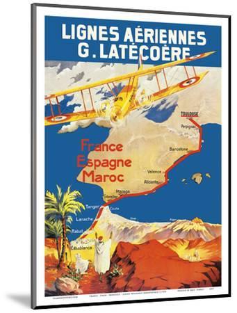 France - Spain - Morocco - Lignes Aeriennes (Aéropostale)-Pacifica Island Art-Mounted Art Print
