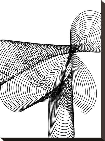 Line Swirl 4-Indigo Sage Design-Stretched Canvas Print