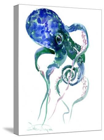 Octopus Blue Green-Suren Nersisyan-Stretched Canvas Print