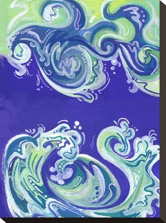 Waves Illo-Cara Kozik-Stretched Canvas Print