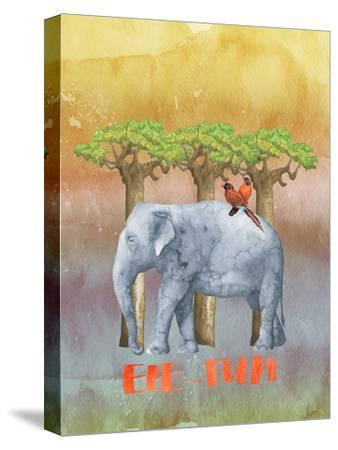 Elephant And Birds-Grab My Art-Stretched Canvas Print