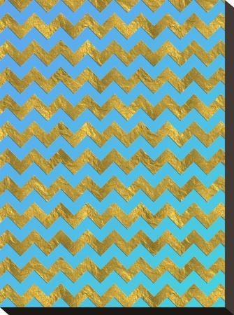 Blue Gold Glitter Pattern Chevron-Grab My Art-Stretched Canvas Print