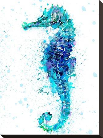 Seahorse 1-Lebens Art-Stretched Canvas Print