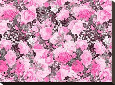 Vintage Flower Pink-Lebens Art-Stretched Canvas Print