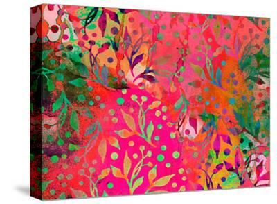Color Watercolor Leaf Pattern-Lebens Art-Stretched Canvas Print
