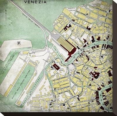 Venezia Map - Square-Lebens Art-Stretched Canvas Print