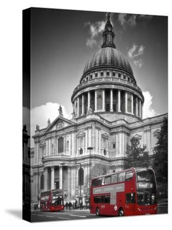 London St Pauls Cathedral & Red Bus-Melanie Viola-Stretched Canvas Print