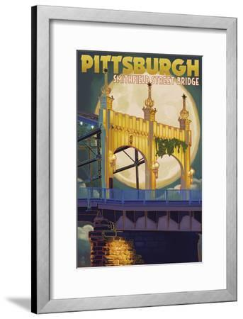 Pittsburgh - Smithfield Street Bridge-Lantern Press-Framed Art Print