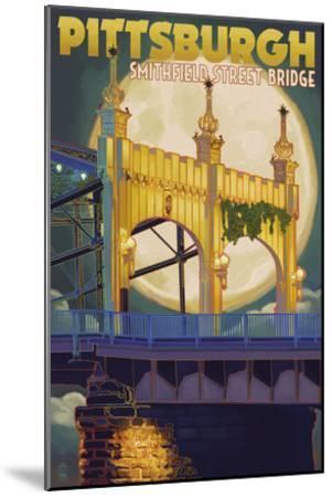 Pittsburgh - Smithfield Street Bridge-Lantern Press-Mounted Art Print