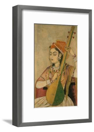 A Lady Playing the Tanpura, 1735-Unknown-Framed Art Print