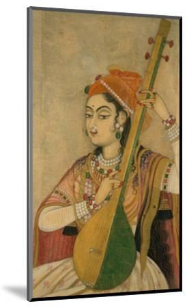 A Lady Playing the Tanpura, 1735-Unknown-Mounted Art Print
