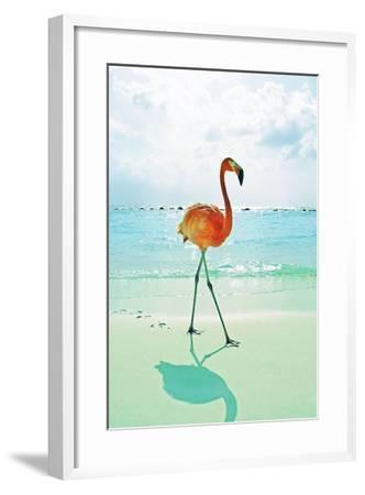 Flamingo on the Beach-Tai Prints-Framed Art Print