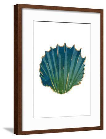 Gold Trim Sea Green Shells-Jace Grey-Framed Art Print