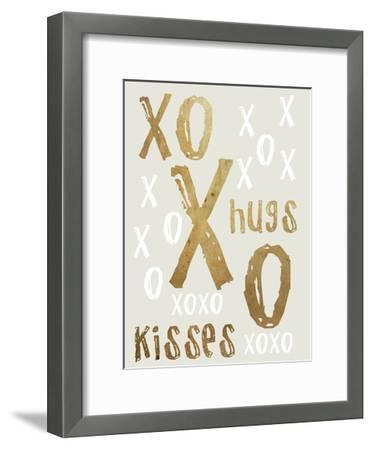 Hugs and Kisses Gold-Sheldon Lewis-Framed Art Print