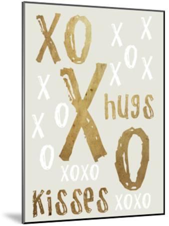 Hugs and Kisses Gold-Sheldon Lewis-Mounted Art Print