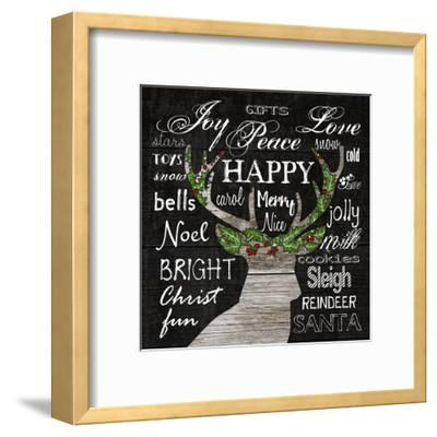 Oh Deer Typography-Sheldon Lewis-Framed Art Print