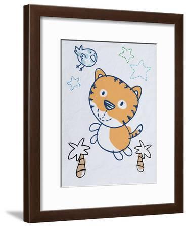 Playful Tiger-Marcus Prime-Framed Art Print