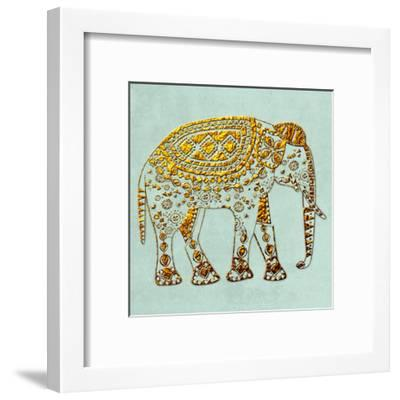 Dusty Aqua Elephant-Sheldon Lewis-Framed Art Print