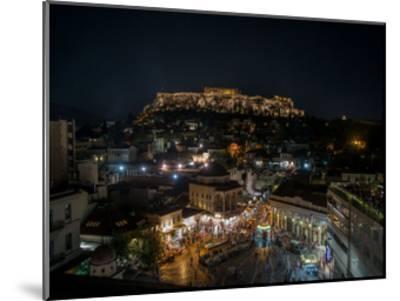 Greece Athens Acropolis Night 1-Vladimir Kostka-Mounted Art Print