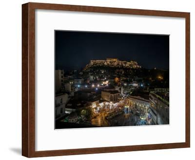 Greece Athens Acropolis Night 1-Vladimir Kostka-Framed Art Print