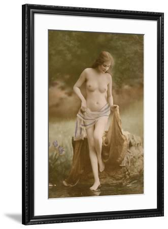 Classic Vintage French Nude - Hand-Colored Tinted Art-NPG Studio-Framed Giclee Print