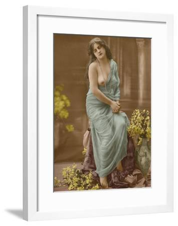 Classic Vintage French Nude - Hand-Colored Tinted Art-Pacifica Island Art-Framed Premium Giclee Print