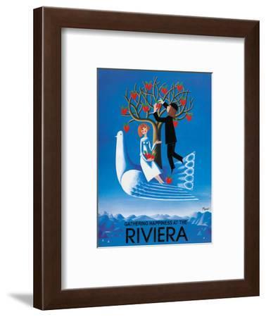 Gathering Happiness at the Riviera - French-Italian Riviera-Raymond Peynet-Framed Art Print
