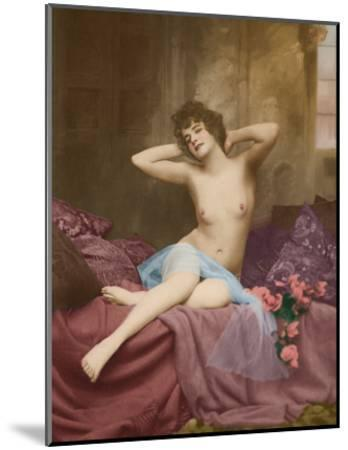 Classic Vintage French Nude - Hand-Colored Tinted Art-NPG - Neue Photographische Gesellschaft-Mounted Giclee Print