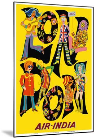London England - Air India - The Beatles with Maharaja-Unknown-Mounted Art Print