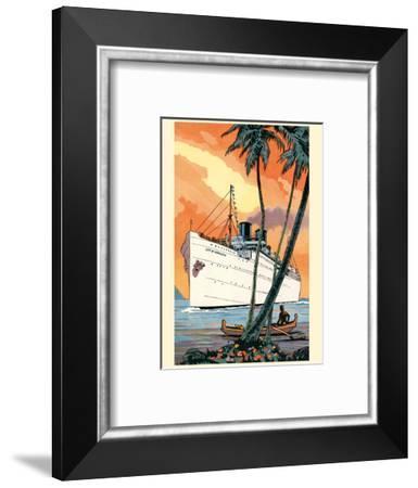 S.S. City of Honolulu - Boat Day Hawaii - Los Angeles Steamship Company-Pacifica Island Art-Framed Art Print