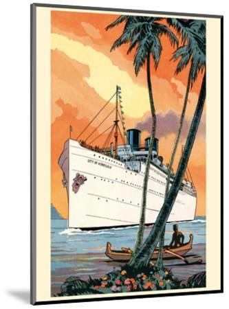 S.S. City of Honolulu - Boat Day Hawaii - Los Angeles Steamship Company-Pacifica Island Art-Mounted Art Print