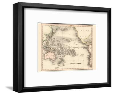 Pacific Ocean - Dower's General Atlas of the Earth-John Dower-Framed Art Print