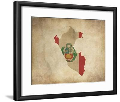Map with Flag Overlay Peru Art Print by Color Me Happy | Art com